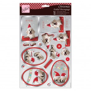 Foiled Decoupage - Festive Puppies
