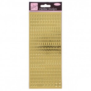 Outline Stickers - Capital Letters - Gold