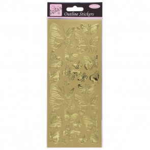 Outline Stickers - Butterfly - Gold