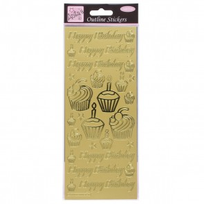 Outline Stickers - Birthday Cupcake - Gold