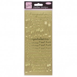 Outline Stickers - Congratulations - Gold