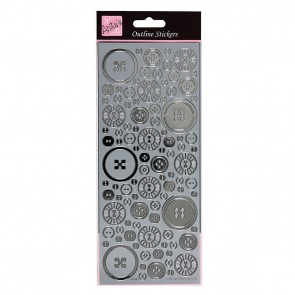 Outline Stickers - Blooming Buttons - Silver