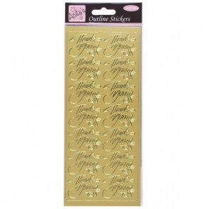 Outline Stickers - Elegant Thank You - Gold