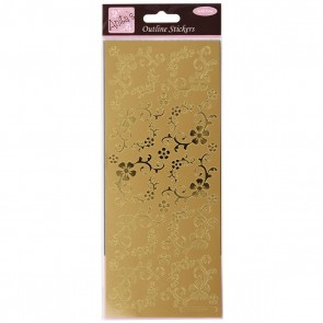 Outline Stickers - Fanciful Floral Corners - Gold