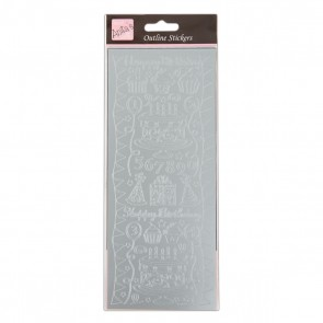 Outline Stickers - Birthday Party - Silver