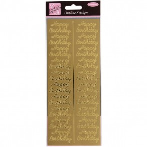 Outline Stickers - Birthday Repeated - Gold
