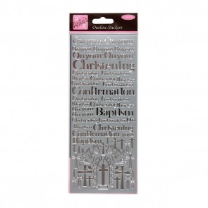 Outline Stickers - Christening & Baptism - Silver