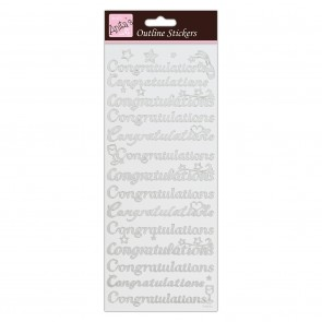 Outline Stickers - Congratulations - Silver on White