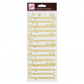Outline Stickers - Congratulations - Gold on White