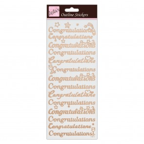 Outline Stickers - Congratulations - Rose Gold on White