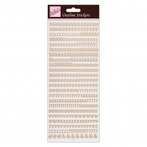 Outline Stickers - Alphabet - Rose Gold on White