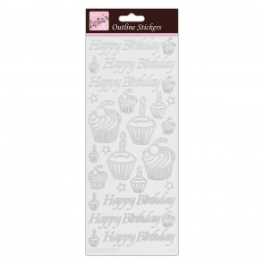 Outline Stickers - Birthday Cupcake - Silver on White