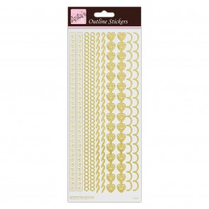 Outline Stickers - Border - Gold on White