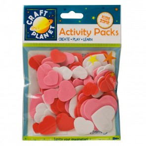 Crafty Foam (75pcs) - Hearts - Pink, Red, White