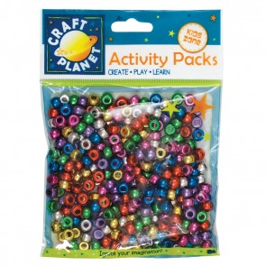 Pony Beads Metallic (300pcs, 80g) - Assorted Colours