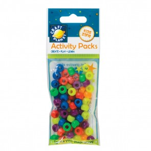 Pony Beads (75pcs 19g) - Bright Neon Colours