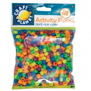 Pony Beads (500pcs, 140g) - Bright Neon Colours