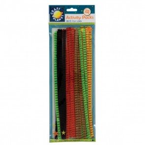 Chenille Striped Stems (20pk) - 5 Assorted Colours
