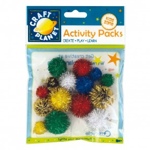 Pompoms Glitter (15pk) - Assorted Colours