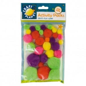 Pompoms (30pk) - Neon Assorted Colours