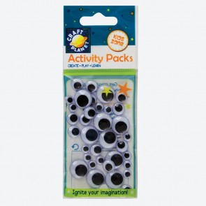 Wiggle Eyes (40pcs) Round - Black & White (Assorted Sizes)