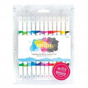Dual Tip Brush Markers (12pcs) - Bright