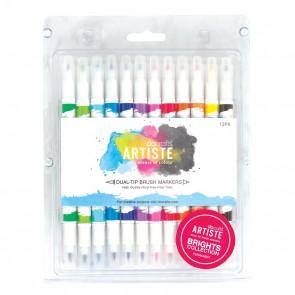 Dual Tip Brush Markers (12pcs) - Bright