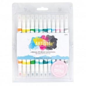 Dual Tip Brush Markers (12pcs) - Pastel