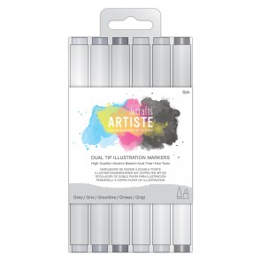 Dual Tip Illustration Markers - Chisel/Brush  (6pk) - Greys