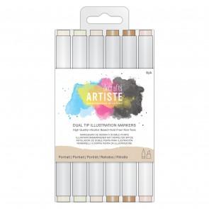 Dual Tip Illustration Markers - Chisel/Brush  (6pk) - Portrait