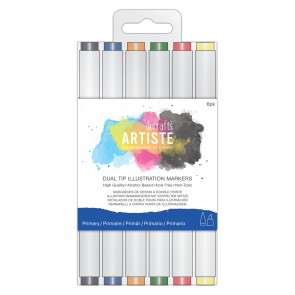 Dual Tip Illustration Markers - Chisel/Brush  (6pk) - Primary