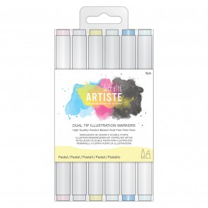 Dual Tip Illustration Markers - Chisel/Brush  (6pk) - Pastel