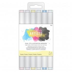 Dual Tip Illustration Markers - Chisel/Brush  (6pk) - Pastel