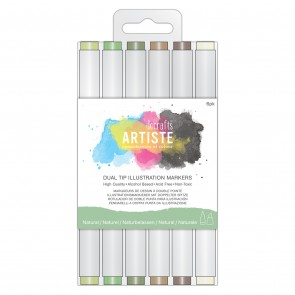 Dual Tip Illustration Markers - Chisel/Brush (6pk) - Natural