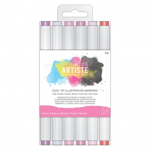 Dual Tip Illustration Markers - Chisel/Brush  (6pk) - Florals