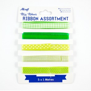 Ribbon Assortment Green (5 Metres)