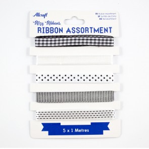 Ribbon Assortment Black & White (5 Metres)