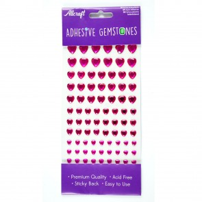 Adhesive Gemstones Heart Cerise (87 Pieces)