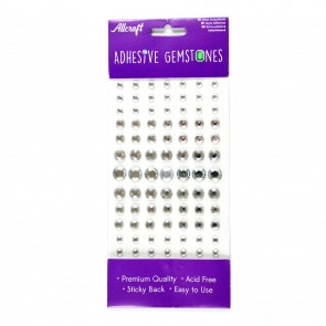 Adheisve Gemstones Round Silver (91 Pieces)