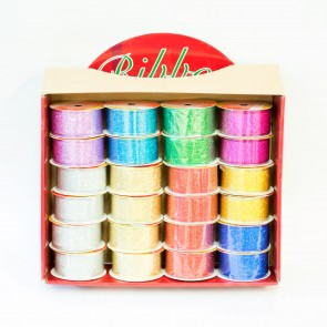 Ribbon Box 3.8cm x 2.7m Glitter (24 Pack)