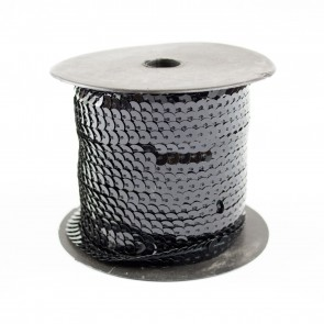 Sequin String 6mm Black (91 Metres)