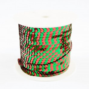 Sequin String 6mm Two-Tone Red & Green (91 Metres)