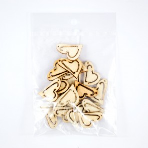 Laser Cut Wood Shape (20 Pack) Heart Tilted