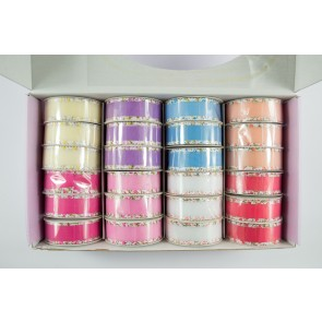 Ribbon Box 24mm x 4.5m Organza with Floral Edge (24 Pack)