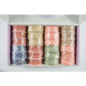 Ribbon Box 24mm x 4.5m Faux Linen Flowers (24 Pack)