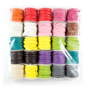 Pleated Cord 5mm Box of 25 Assorted (2 Metres)