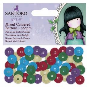 Coloured Mixed Buttons (100pcs) - Santoro