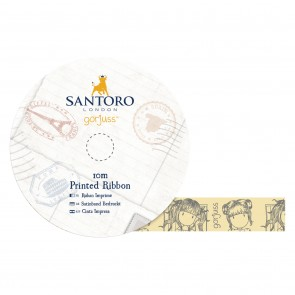 10m Printed Satin Ribbon - Santoro - Little Fishes