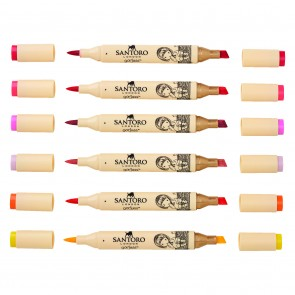 Dual Tip Illustration Markers - Brush/Chisel (12pk) - Santoro