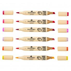 Dual Tip Illustration Markers - Brush/Chisel (12pk) - Santoro